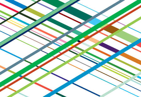 Colorful, vivid, vibrant oblique, diagonal, skew and traverse grid, mesh or lattice, grill, trellis illustration. Intersecting lines abstract vector background
