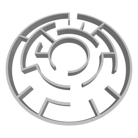 Solvable 3D maze, labyrinth, puzzle game vector illustration