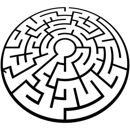 Solvable 3D maze, labyrinth, puzzle game vector illustration Ilustração Vetorial