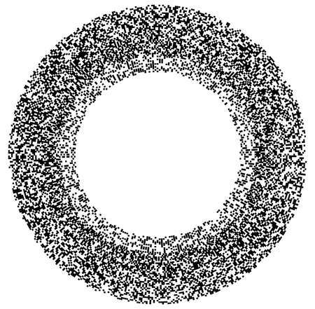 Random squares in circle formation abstract black and white, monochrome, grayscale geometric element. Circle, circular mosaic