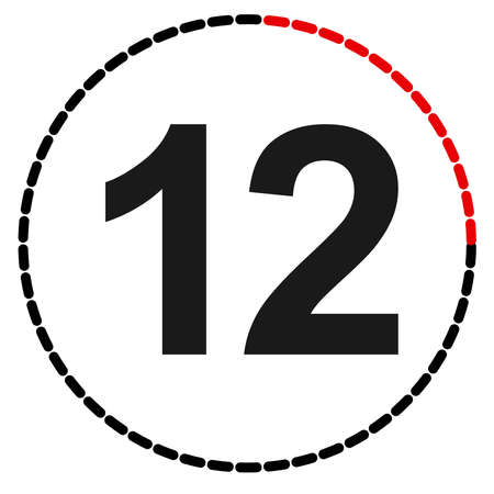Numbers, numerals dial illustration. Time, duration and schedule concept icon. Turnaround time (TAT) icon. Counter, countdown vector