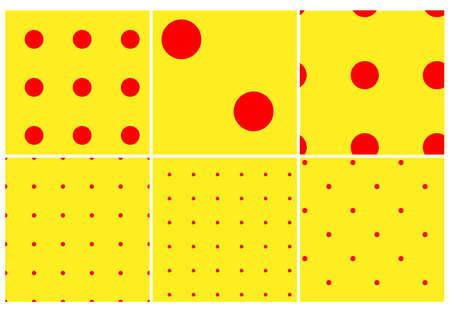 Pop-art, pointillist-pointillism seamless red, yellow circles, dots, dotted pattern, circles background. Pattern, background set Vector Illustration