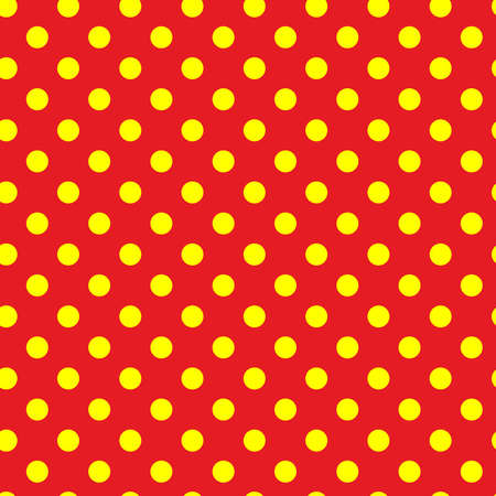 Popart, pointillist-pointillism seamless red, yellow circles, dots, dotted pattern, circles background. Vector Vecteurs