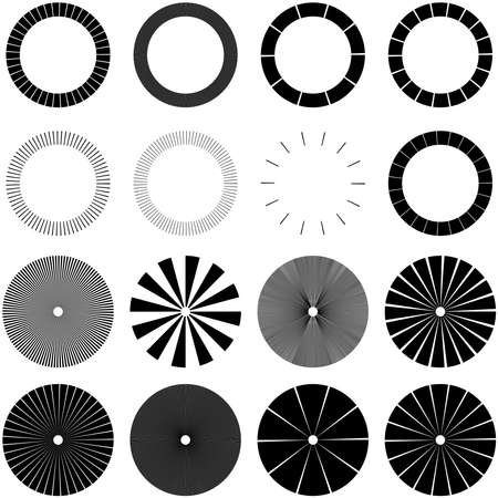 Set of Circular radial, radiating lines, beams, rays. Geometric circle vector illustration. Cyclic loop concentric pattern