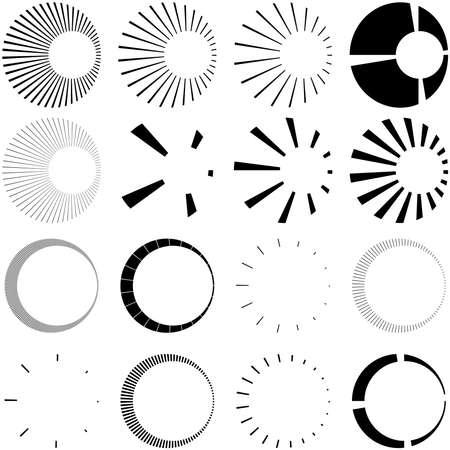 Set of Circular radial, radiating lines, beams, rays. Geometric circle vector illustration. Cyclic loop concentric pattern Vecteurs