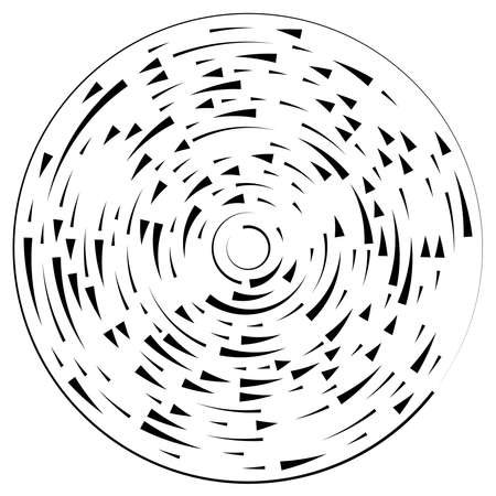 Radial, radiating lines abstract burst element. Concentric whirligig volute, helix spreading stripes. Circular, cyclic strips, streaks circle shape.Twist, spiral and rotation,loop concept illustration