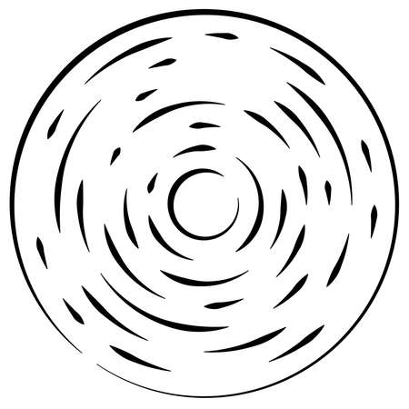Radial, radiating lines abstract burst element. Concentric whirligig volute, helix spreading stripes. Circular, cyclic strips, streaks circle shape.Twist, spiral and rotation,loop concept illustration Ilustração Vetorial