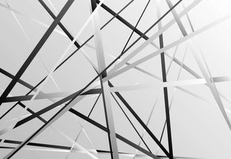 Random oblique, tilt, skew intersecting straight lines, stripes abstract vector art. Abstract grayscale, gray and black and white background, pattern and texture