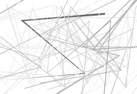 Edgy, angular lines abstract vector art. Abstract zig-zag; criss-cross, wavy intersected lines, strips light-gray, grayscale, black and white background; pattern and texture.