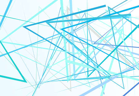 Edgy, angular lines abstract vector art. Abstract zig-zag; criss-cross, wavy intersected lines, stripes light-blue background; pattern and texture.