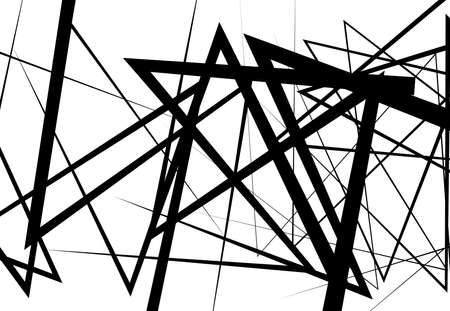 Edgy, angular lines abstract vector art. Abstract zig-zag; criss-cross, wavy intersected lines, strips black and white, monocrome background; pattern and texture.