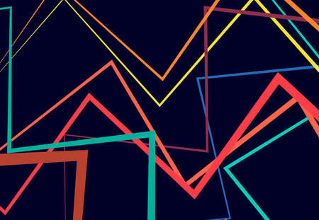 Edgy, angular lines abstract vector art. Abstract zig-zag; criss-cross, wavy intersected lines, stripes vivid, vibrant color background; pattern and texture.