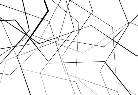 Edgy, angular lines abstract vector art. Abstract zig-zag; criss-cross, wavy intersected lines, stripes black and white, monocrome background; pattern and texture.