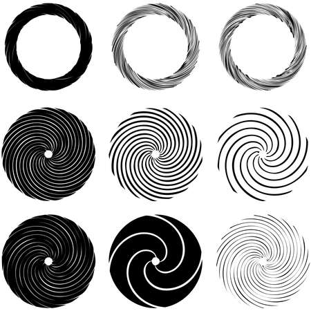 Circular Spiral, swirl, twirl design element. Concentric, radial and radiating burst of lines with rotation, gyre and curved distortion Vecteurs