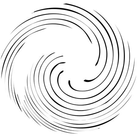 Circular Spiral, swirl, twirl design element. Concentric, radial and radiating burst of lines with rotation, gyre and curved distortion Vettoriali