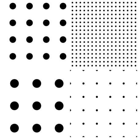Black and white seamless circles, dots, speckles pattern set. Monochrome stipple, stippling, halftone background set. Vector Vecteurs
