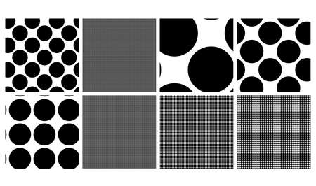 Black and white seamless circles, dots, speckles pattern set. Monochrome stipple, stippling, halftone background set. Vector