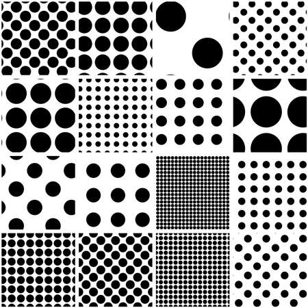 Black and white seamless circles, dots, speckles pattern set. Monochrome stipple, stippling, halftone background set. Vector Vector Illustratie