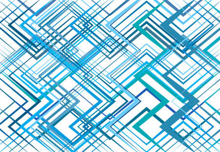 Geometric structure, network, chaotic jumble of straight, angular intersecting lines. Abstract random grid, mesh. Colorful, BLUE background, texture and pattern