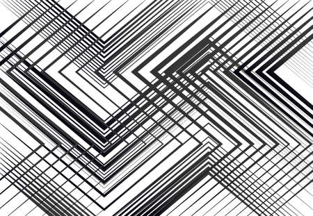 Geometric structure, network, chaotic jumble of straight, angular intersecting lines. Abstract random grid, mesh. Grayscale, black and white texture, pattern, background and backdrop