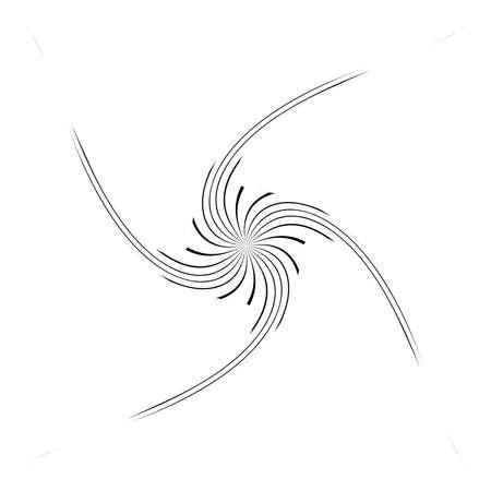 Twist, spiral, swirl and twirl thin op-art element. Abstract rotating shape. Vortex, helix design element