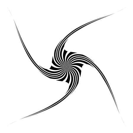 Twist, spiral, swirl and twirl thin op-art element. Abstract rotating shape. Vortex, helix design element 向量圖像