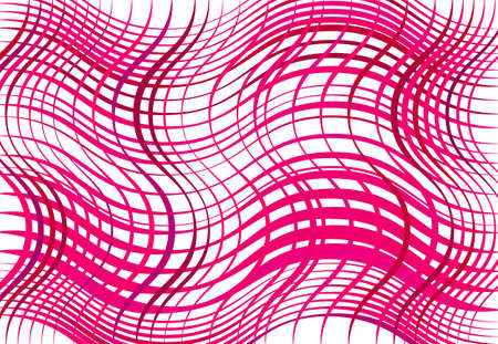 Grid, mesh of wavy, undulating, waving, billowy lines. Abstract colorful PINK geometric background, texture, backdrop and pattern