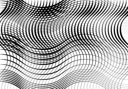 Grid, mesh of wavy, undulating, waving, billowy lines. Abstract black and white, grayscale background, texture, backdrop and pattern Vecteurs