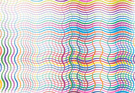 Grid, mesh of wavy, undulating, waving, billowy lines. Abstract colorful, multi-color background, texture, backdrop and pattern. squiggle, squiggly lines lattice, grille