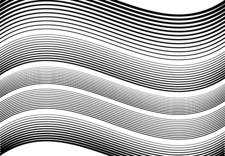Wavy, waving and undulating, billowy horizontal lines, stripes abstract design element, black and white, monochrome background, pattern and texture