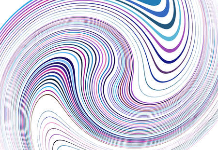 Twist, vortex lines, stripes. Wavy, waving concentric strips and streaks. Rotation, torsion and gyration effect on random stripes. Purple, pink, blue abstract element, background, pattern and texture Ilustração Vetorial