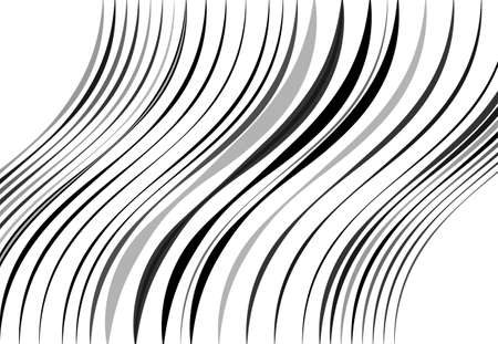 Abstract wavy, waving, billowy and undulating lines, stripes. Squiggly, squiggle lines with twist effect. Abstract black and white, monochrome, grayscale pattern, background, backdrop and texture Vecteurs