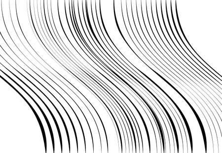 Abstract wavy, waving, billowy and undulating lines, stripes. Squiggly, squiggle lines with twist effect. Abstract black and white, monochrome, grayscale pattern, background, backdrop and texture