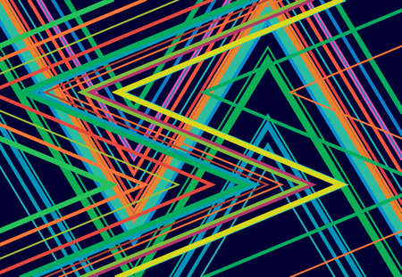 Vivid, vibrant zig-zag, criss-cross, serrated, crinkled angular grid, mesh, lattice or grating, grill of random angled lines. Abstract geometric colorful, multi-color background, texture and pattern