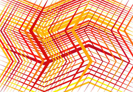 Zig-zag, criss-cross, serrated, crinkled angular grid, mesh, lattice or grating, grill of random angled lines. Abstract geometric colorful ORANGE-YELLOW background, texture and pattern
