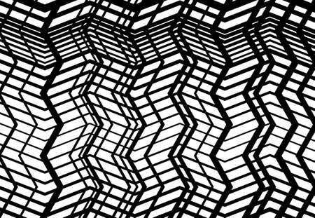 Zig-zag, criss-cross, serrated, crinkled angular grid, mesh, lattice or grating, grill of random angled lines. Abstract geometric black and white, monochrome background, texture and pattern