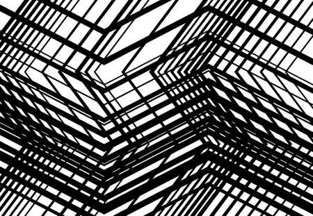 Zig-zag, criss-cross, serrated, crinkled angular grid, mesh, lattice or grating, grill of random angled lines. Abstract geometric grayscale, monochrome background, texture and pattern