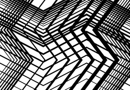 Zig-zag, criss-cross, serrated, crinkled angular grid, mesh, lattice or grating, grill of random angled lines. Abstract geometric grayscale, monochrome background, texture and pattern Vektorgrafik