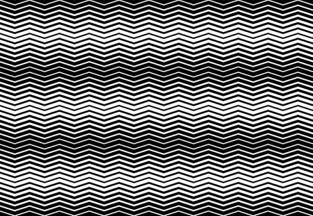 Corrugated, wavy, zig-zag, criss-cross lines abstract geometric black and white, grayscale, monochrome pattern, background, texture or backdrop Ilustração Vetorial
