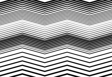 Corrugated, wavy, zig-zag, criss-cross lines abstract geometric black and white, grayscale, monochrome pattern, background, texture or backdrop Vektorgrafik