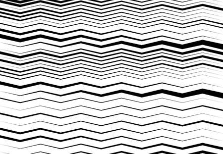 Corrugated, wavy, zig-zag, criss-cross lines abstract geometric black and white, grayscale, monochrome pattern, background, texture or backdrop