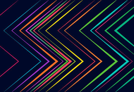 vivid, vibrant corrugated, wavy, zig-zag, criss-cross and serrated, crinkled, wrinkle lines, stripes abstract geometric colorful, multi-color pattern, background, texture or backdrop Vektorgrafik