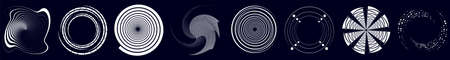 Swirl, sworls, twirls and spiral vector set. Helix, volute shapes with rotation, revolve ripple effect. Spiral icons