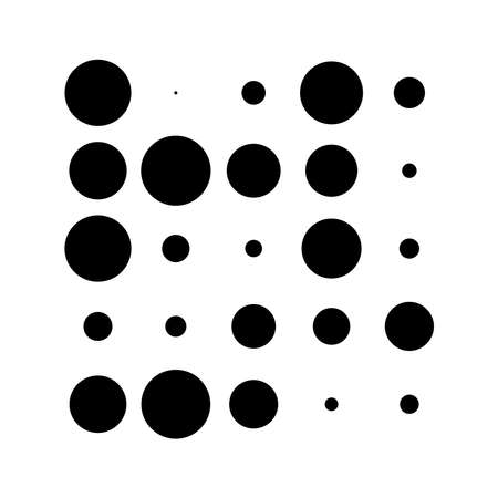 5x5 circles dots variation design. Dotted speckles, freckles. Circles grid and mesh