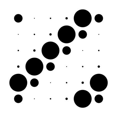 6x6 circles dots variation design. Dotted speckles, freckles. Circles grid and mesh