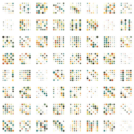 6x6 circles dots variation design. Dotted speckles, freckles. Circles grid and mesh. Vector illustration