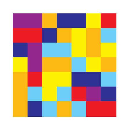 7x7 cube, square geometric arrangement. Square illustration Vettoriali