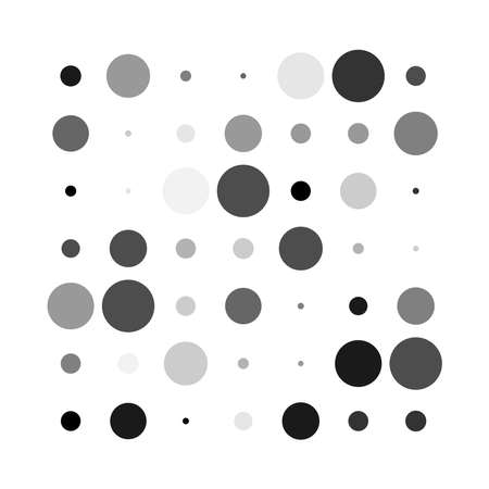 7x7 circles dots variation design. Dotted speckles, freckles. Circles grid and mesh. Vector illustration