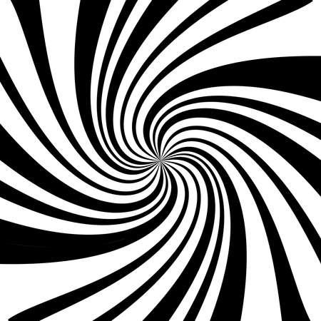 Twist, spiral, swirl, twirl element. BW Radial rotating stripes
