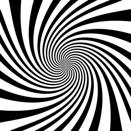Twist, spiral, swirl, twirl element. BW Radial rotating stripes Ilustración de vector